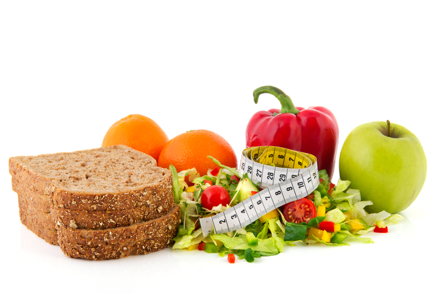 Diet meal with measuring tape